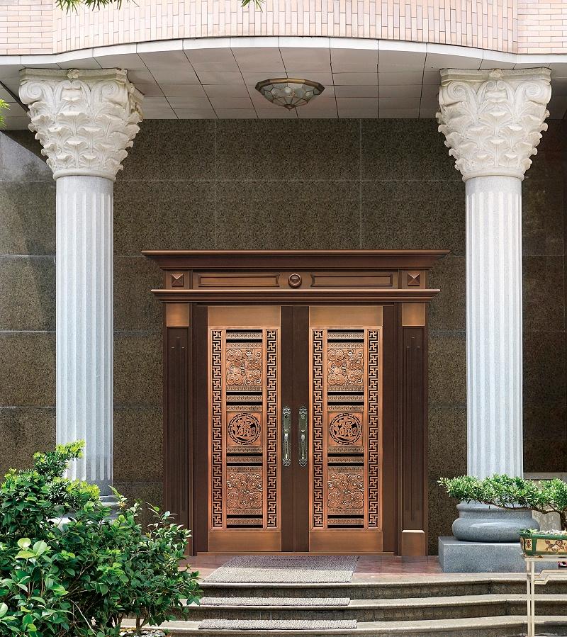 爱唯铜门对开门-招财进宝