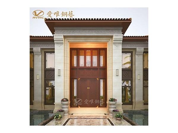 龙派爱唯铜门厂家定制别墅入户铜门|铜门招商加盟