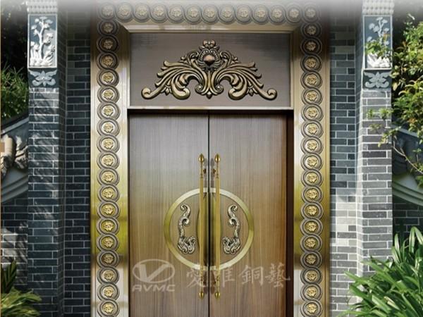 广东别墅铜门厂家爱唯铜艺——青古铜色款式铜门