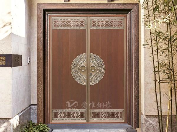 广东别墅铜门厂家爱唯铜艺——新中式铜门案例