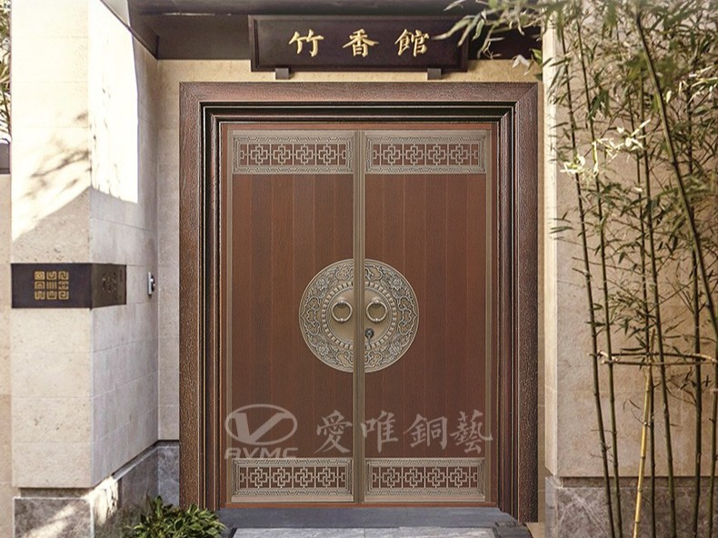 广东别墅铜门厂家爱唯铜艺——新中式风格铜门