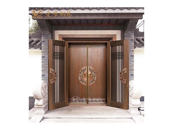 厂家直销经典欧式定制对开门纯铜铜门  高档套房别墅防盗入户铜门