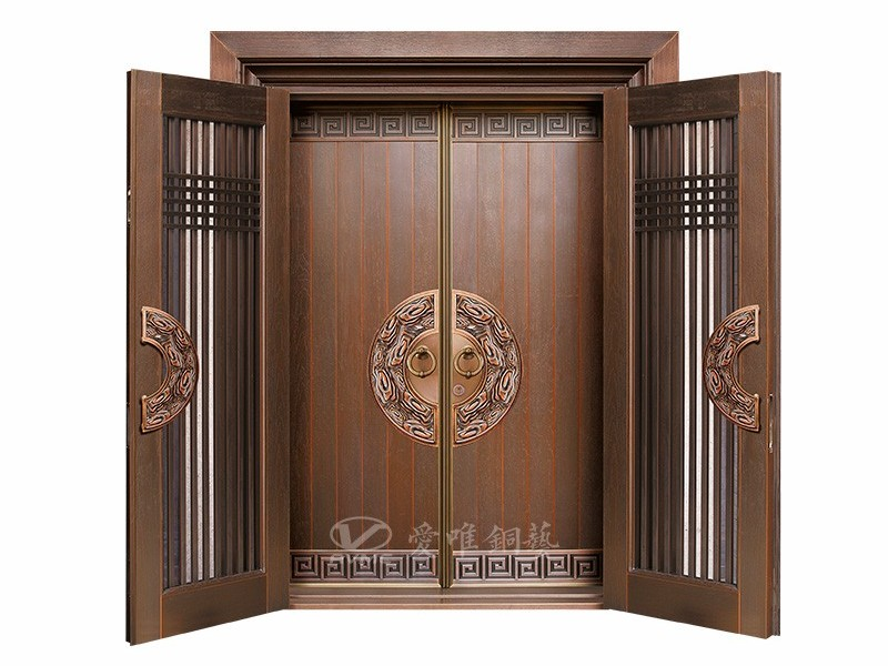 爱唯铜门厂家定制新中式入户双开门