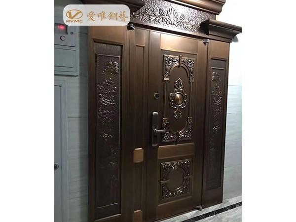 海口蓝城一号入户别墅铜门工程案例-爱唯铜艺铜门厂家