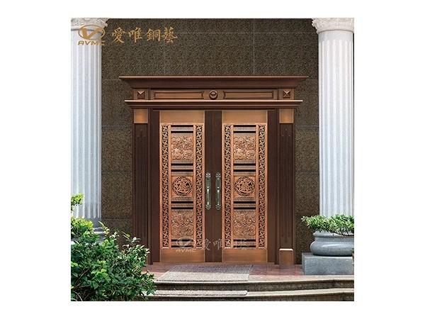 厂家直销新中式手工焊接防铜锈纯铜门会所别墅入户大门