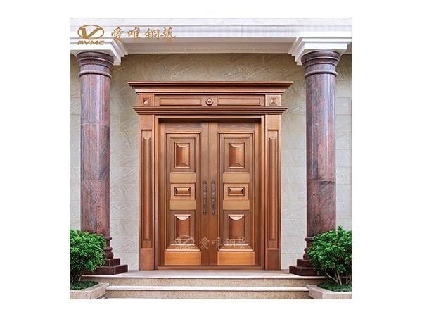 厂家代加工防铜锈防盗真铜门定做手工拉丝焊接花件工序商品房铜门