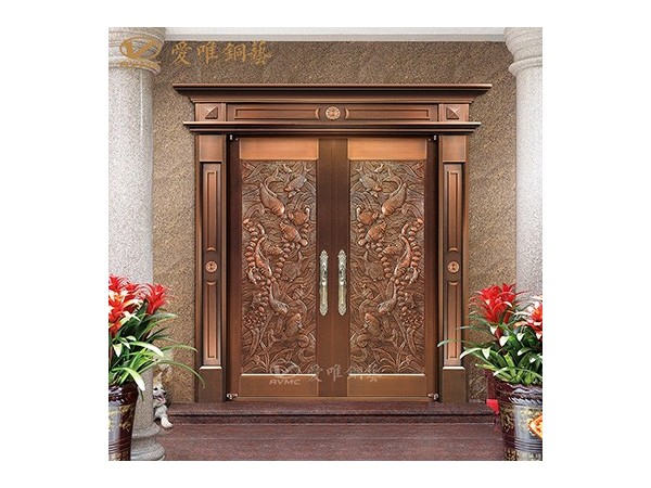 厂家直销入户铜门 欧式古典风 私人订制紫铜材料双开铜门