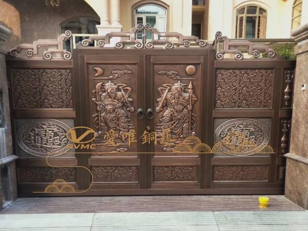 广东铜门厂家爱唯铜艺——清远别墅铜门庭院铜门