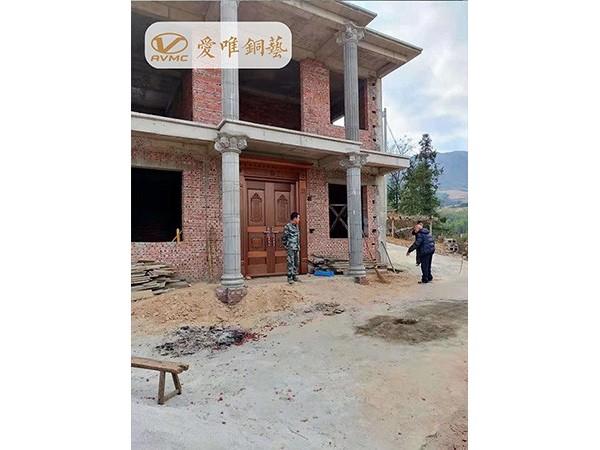 江西大余县杨总自建别墅铜门工程案例——爱唯铜艺