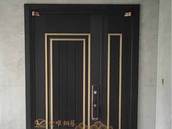 广东别墅铜门厂家爱唯铜艺——极简铜门子母门