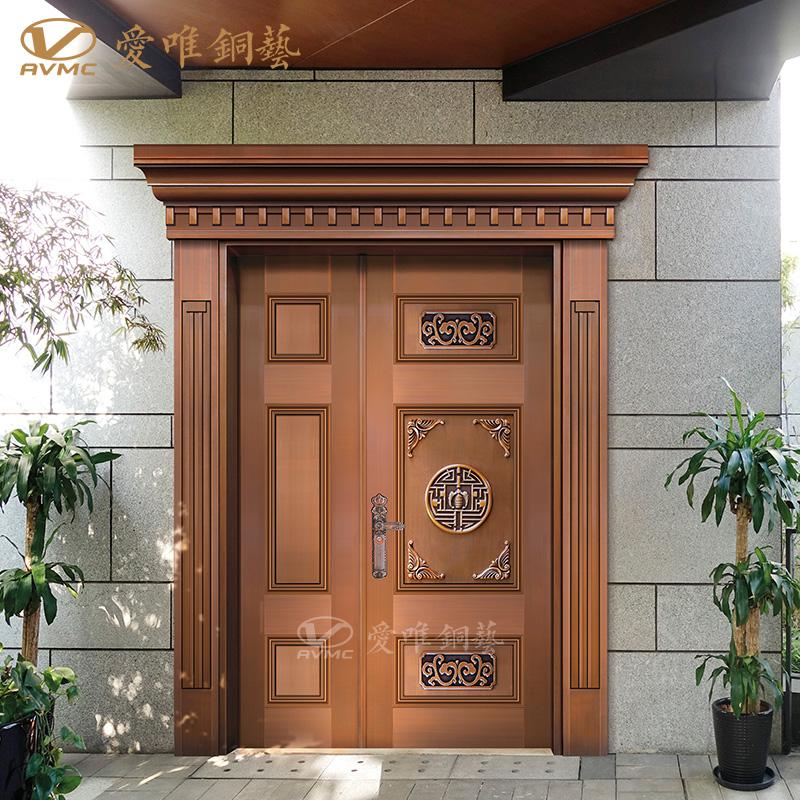 别墅铜门子母铜门