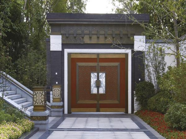 十大品牌爱唯铜门生产厂家新中式庭院铜门