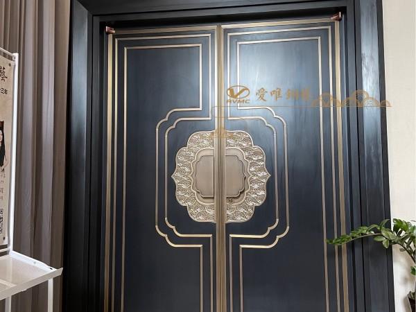 佛山别墅铜门厂家爱唯铜艺——展厅新中式对开铜门